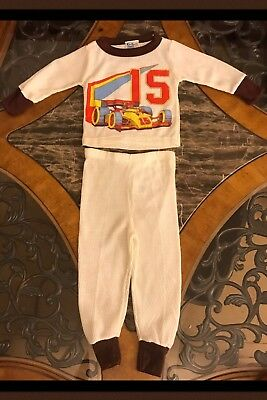 1970s New Vintage TWIN TOGS Boys Thermal Underwear 2 Piece Set Race Car Sz 2T