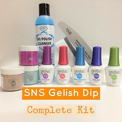 Gelish Dip SNS 3 Dipping Powders / Choice of Colors & Liquids Nail Complete Kit