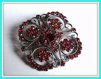 GORGEOUS Antique Russian Filigree Brooch pin STERLING SILVER 875 red stone