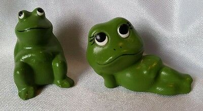 Pair of Ceramic Green Frogs Boy & Girl Lounging Hand Painted Animal Figurines