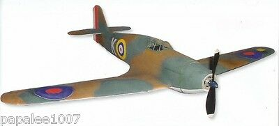 """Model Airplane Plans (RC): Hawker Hurricane 1/19 Scale 25"""" for Electric Power"""