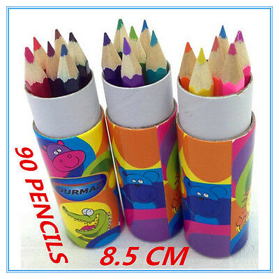 90 X Mini Colouring Pencils In Polka Dot Design Tube Case Bag Filler Craft D