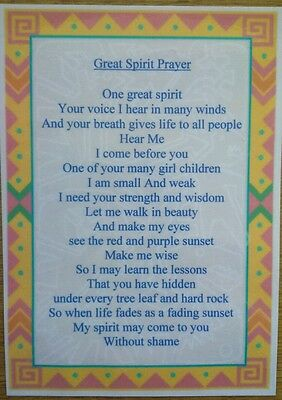 Native American Indian laminated A6 Great spirit Prayer Saying Blessing