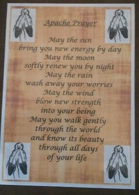 Native American Indian laminated A6 Apache wisdom Prayer Saying Blessing