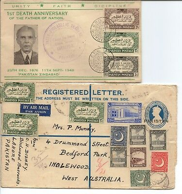 PAKISTAN - 2 very old First Day Covers - 1949 and 1950