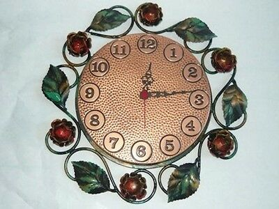 Wall clock copper with frame wrought iron
