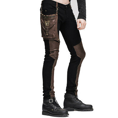 Steampunk Men Long Jean Trousers Gothic High Waist Personality Pants