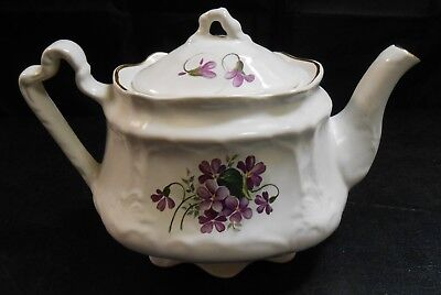 Arthur Wood Staffordshire Pottery Small Teapot. Violets Pattern        pd