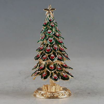 Chinese Gold-plated Cloisonne Handmade Inlaid Rhinestone Christmas Tree Pot Stat
