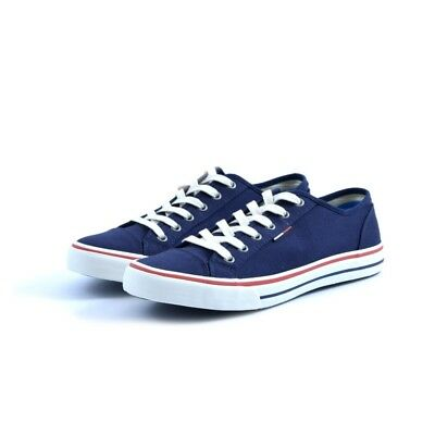Scarpe shoes sneakers Tommy Hilfiger uomo man tessuto canvas blu scuro gomma b13d09bde4a