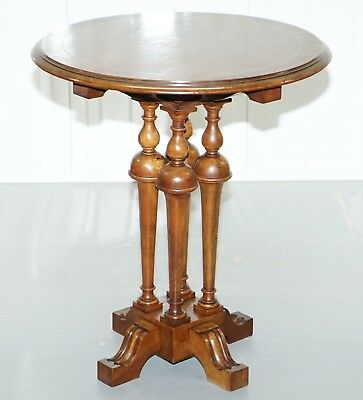 Stunning Victorian Quad Four Pillared Base Solid Walnut Side End Lamp Wine Table
