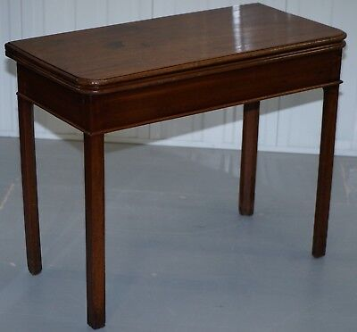 Lovely Mahogany Mid Victorian Folding Cards Games Table, Pull Out Leg And Top
