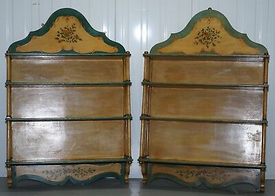 Stunning Pair Of Antique Hand Painted Large Flemish Wall Racks Display Spices