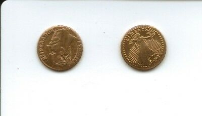 2x MINIATURE GOLD COINS - Mexico and USA
