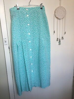 Pastel Green Vintage High Waisted Skirt! Clover/Floral Print! Size S! Pleated!