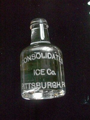 PITTSBURGH PA Consolidated Ice Co Figural Glass Bottle Advertising Paperweight