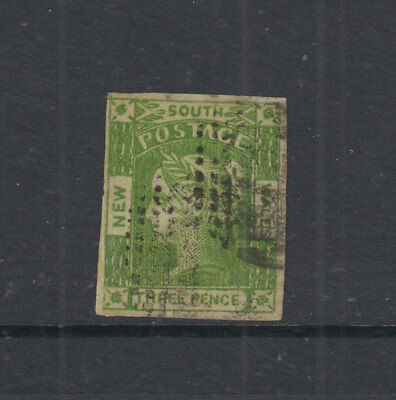 NSW 1854 3d Yellow Green LAUREATE-imperf 4 marg-wmk 3-SG87 Cat £50+ VFU