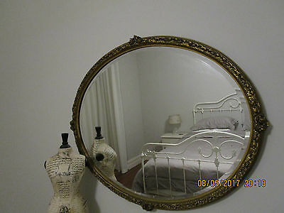 Antique French Style Vintage Gilt Gold Oval Mirror