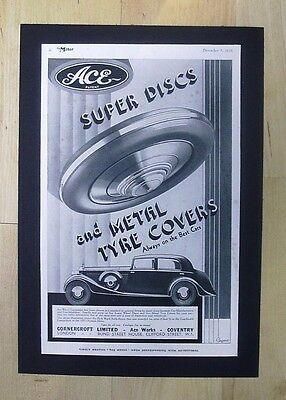 Vintage Original Advert Ace Super Discs Metal Tyre Covers Made In Coventry 1933