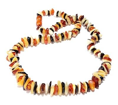 Genuine Mixed 46 cm / 18.1 in Polished Baltic Amber Necklace for Adult
