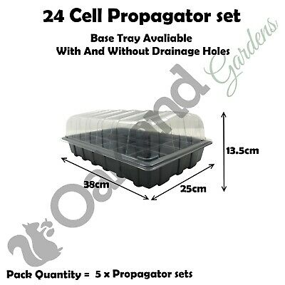 5 X Full Size Propagator Set Lids Seed Trays + 24 Cell Inserts With or No Holes