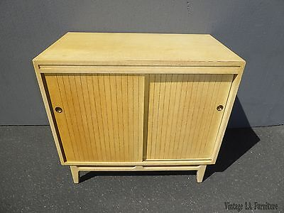 Vintage Mid Century Modern Solid Wood Sliding Door CREDENZA ~ Yellowish Color