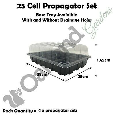 4 X Full Size Propagator Set Lids Seed Trays + 25 Cell Inserts With or No Holes