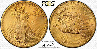 1908 No Motto $20 ST GAUDENS GOLD COIN PCGS MS 66 DOUBLE EAGLE.Quality