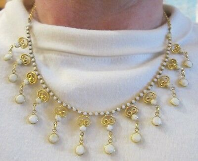 Vintage 8 inch Gold Clad Link Chain Filigree White Bead Dangle Necklace (96