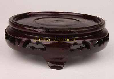 Wood Carved Vase Base Stand Decorated Collectable