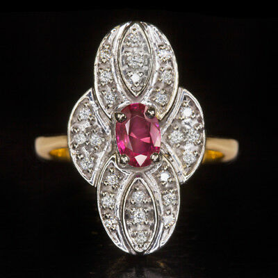 VINTAGE 1/2ct PINK SAPPHIRE NATURAL VG CUT DIAMONDS COCKTAIL RING 14K GOLD RUBY