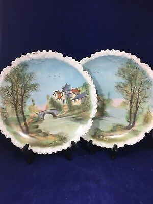 """Pair Of Large 12"""" French Heavy Unsigned  Porcelain Hand Painted Chargers Plaques"""