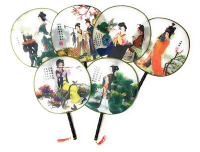 Chinese Ancient Beauty Palace Round Faux Silk Hand-held Fans Job Lot Wholesale