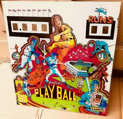 1971 Vintage Play Ball Gottlieb Pinball Backglass Back Glass