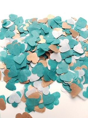 Rose gold Copper, White and Teal Heart Confetti Wedding 2-25 handfuls / cones