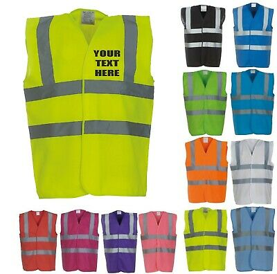 Personalised Printed Hi-Vis Workwear Vest Safety High Visibility Waistcoat
