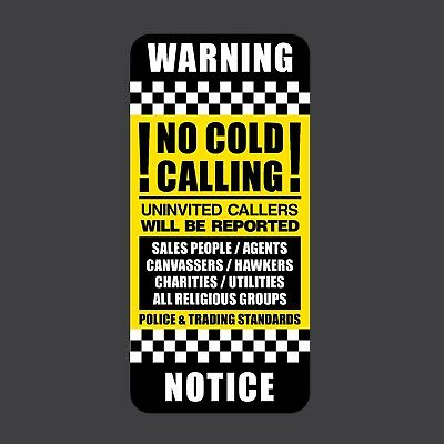 No Cold Callers Front Door Letter Box Sign // Sticker No Canvassers SKU014