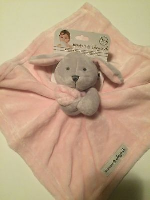 NWT Blankets & Beyond Bunny Pink And Grey Gray Lovey Security Blanket Nunu Lovie