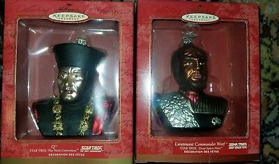 2000 Hallmark Keepsake Glass Blown Star Trek Lt. Cmdr. Worf  & 'Q' Ornaments