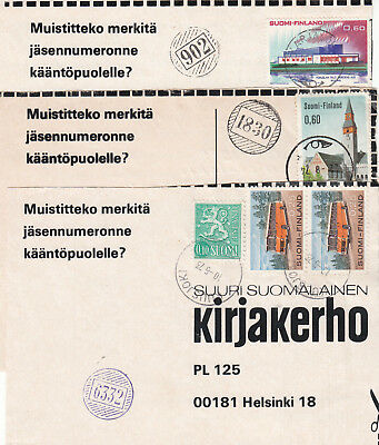 Finland 3 Postal Coupons With Numeral Strikes 1973-74