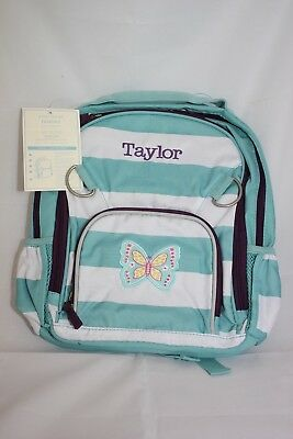 Pottery Barn Kids Fairfax small backpack stripe butterfly mono Taylor d483134470