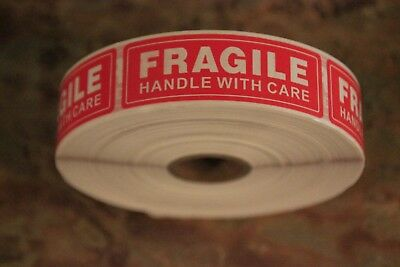 """100 New 1""""x 3"""" """"FRAGILE Handle with Care"""" Shipping Labels - Limited time price!"""