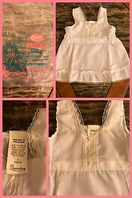 1970s NEW Vintage QUEENSBURY White Baby Full Slip Dress Lace Ruffles  12 Months