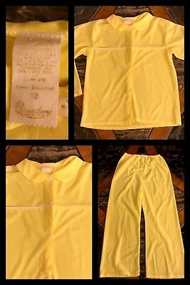 1970s New Vintage QUEENSBURY Girls 2 Piece Yellow Pajamas Long Sleeve Sz 10