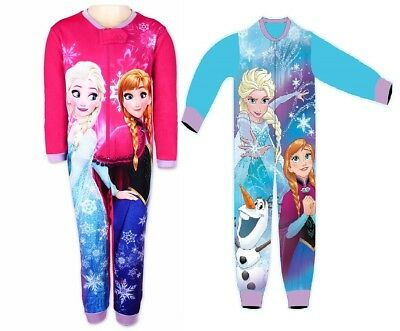 Girls Frozen Fleece All In One Sleepsuit Pyjamas Nightwear Size 4 To 10 Year
