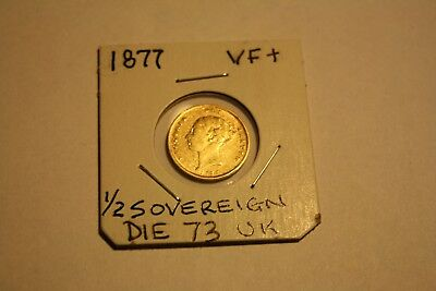 1877 Gold Half Sovereign ::london Mint Die 73 ::shield Type::::lustrous::