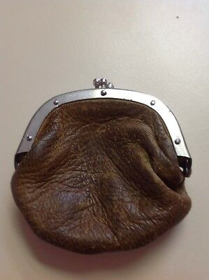Antique coin purse leather unisex double sided Victorian Edwardian