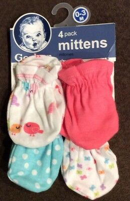 Gerber Infant Baby Girls New In Package 4 Pack Pairs Mittens Mitts 0-3M Months