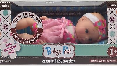 Babys First Classic Baby Softina Tubbable Bathtime Soft Doll Babydoll Age 1+ New