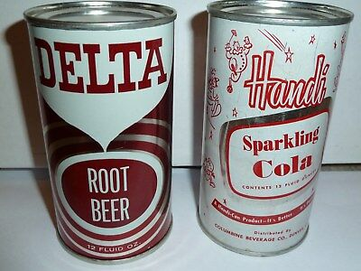 Delta Root Beer & Handi Cola Flat top cans - RARE - GREAT Shape